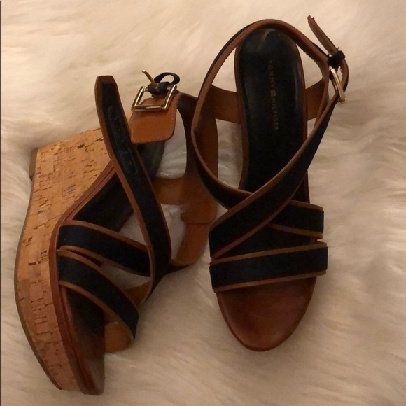 Tommy Hilfiger Maite Women Leather Wedge Sandal Brown Multi